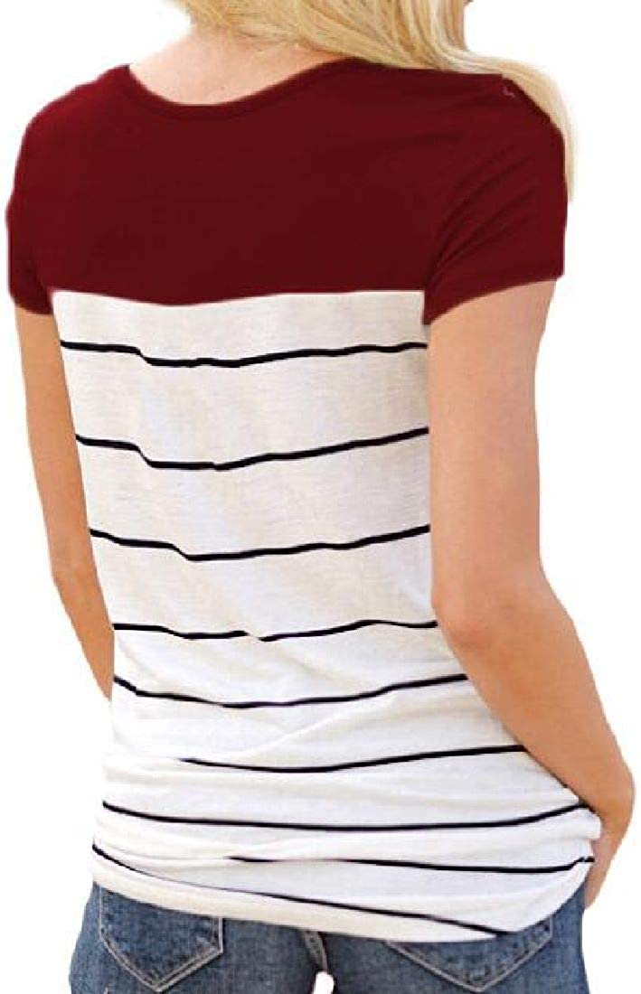 Rrive Women Short Sleeve Striped Lace Crewneck Casual Summer T-Shirts Top Blouse