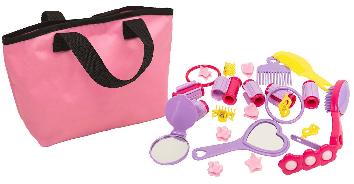 MMP Living Girls Beauty Pretend Play & Dress up Set with Tote and Accessories - 25pcs