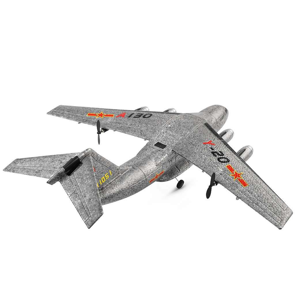LEIMBUAY Remote Control Airplane XK A130 Xian Y-20 Model Military Transport Aircraft 3CH RTF Glider RC Airplane Drone Flying Aircraft for Indoors/Outdoors for Kids Adluts (Gray)