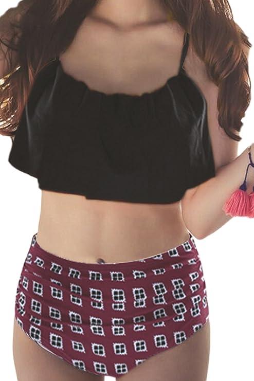 Les Bandes Rétro - Taille Haute 2pcs Maillot Manches Froisser Bikini Red XS Livraison Gratuite Explorer Original Livraison Gratuite Acheter Escompte Obtenir Pas Cher adJsmvLzh