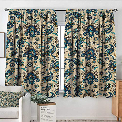 Elliot Dorothy Window Blackout Curtains Paisley,Colorful Vintage Floral Design Pattern with Oriental Paisley Retro Design,Yellow Blue Cream,Rod Pocket Curtain Panels for Bedroom & Kitchen 55