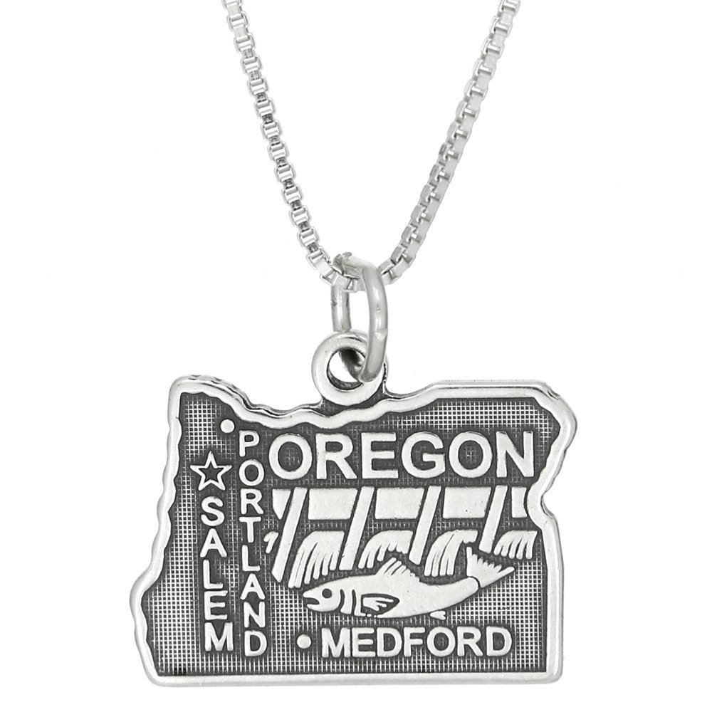Sterling Silver Oxidized State of Oregon Charm with Polished Box Chain Necklace