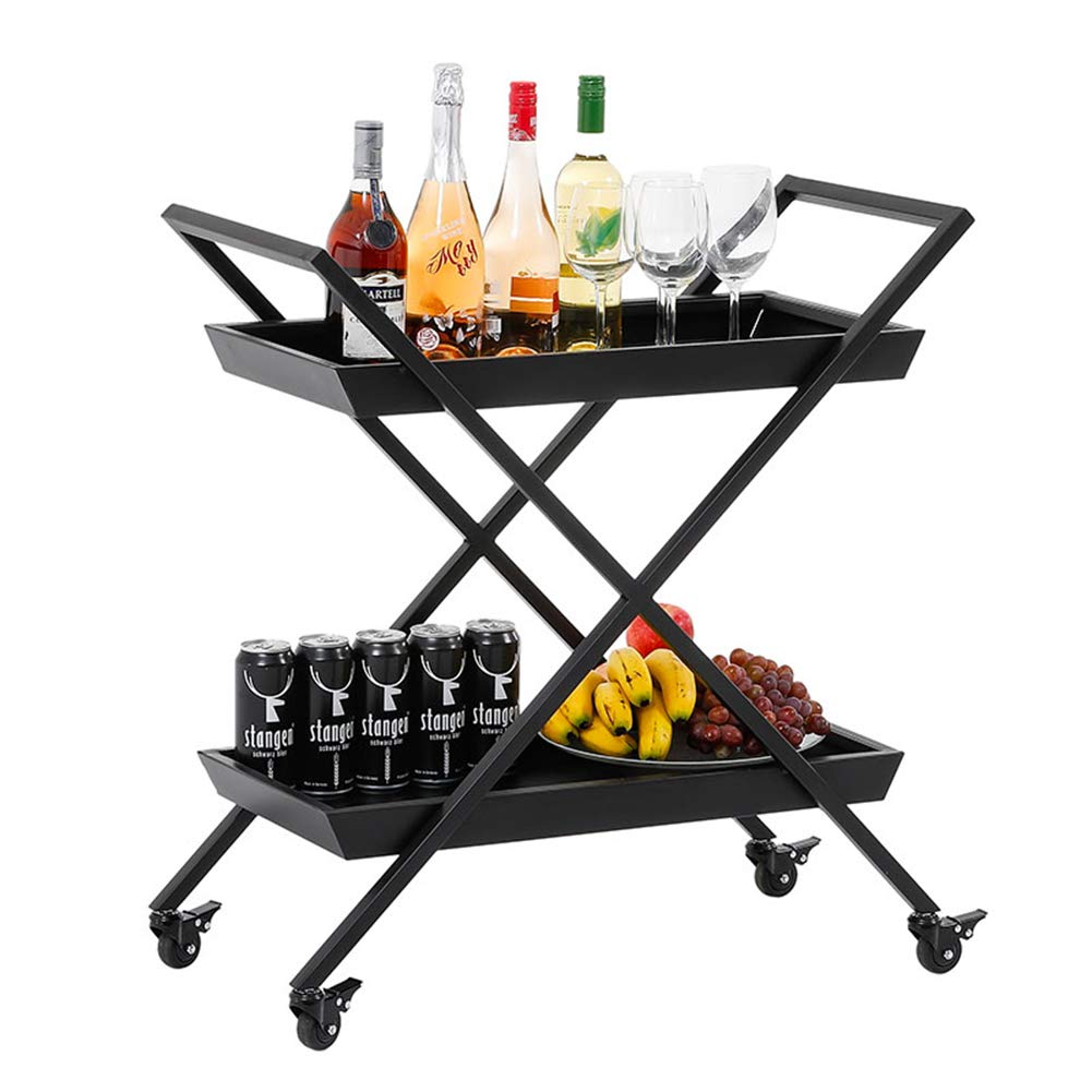 Multi-Function Kitchen Rack, Nordic Movable Wrought Iron Trolley, Wine cart, Tea cart, Hotel bar Kitchen Storage Rack, Black - 27.9514.1731.89in by Kitchen shelf