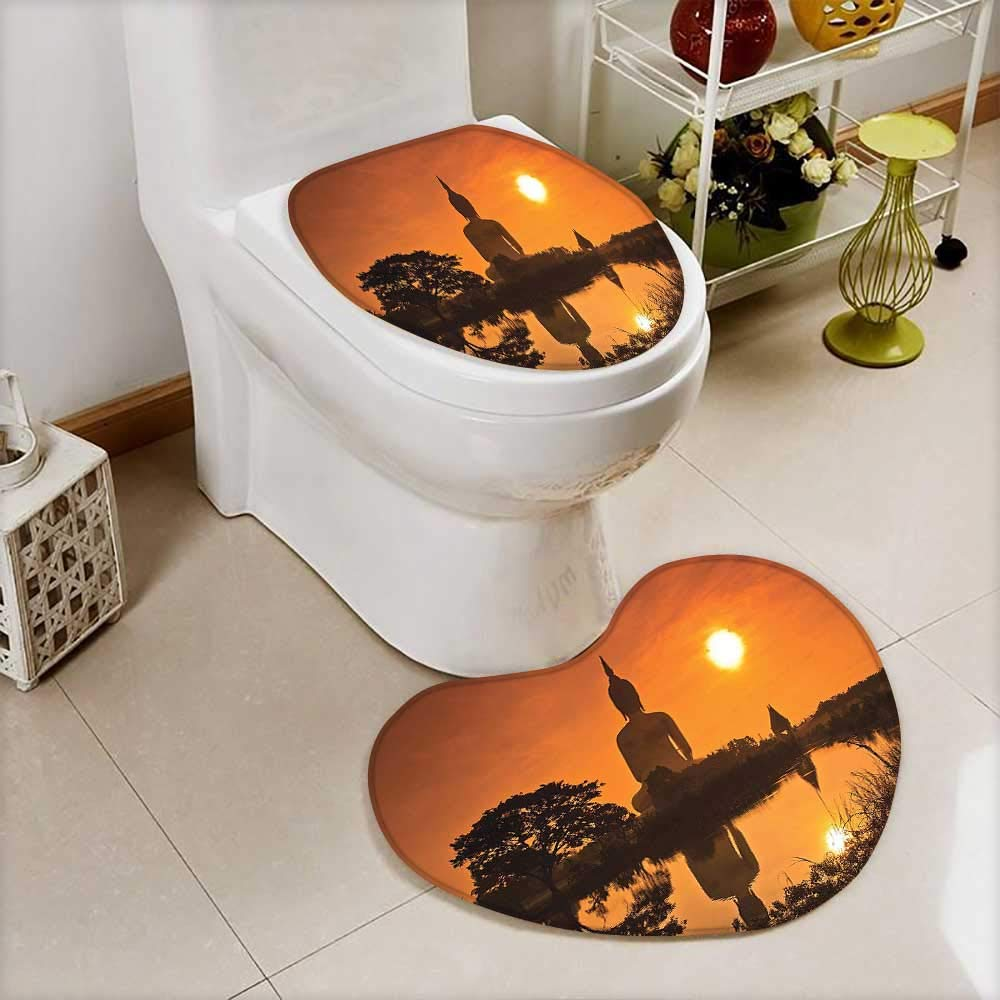 L-QN 2 Piece Toilet Toilet Mat Big Giant Statue The River at Sunset Thai Asian Culture Scene Yin Non-Slip Soft Absorbent Bath