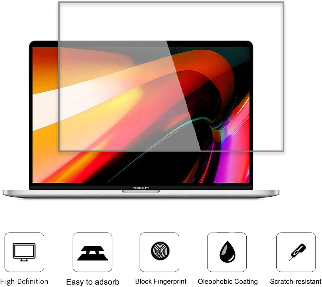 KEANBOLL Tempered Glass Screen Protector For MacBook Pro 16 Inch 2019 Released Model A2141,[No Waves][No Bubble][Reduce Fingerprint][Anti Scratch][0.15mm]