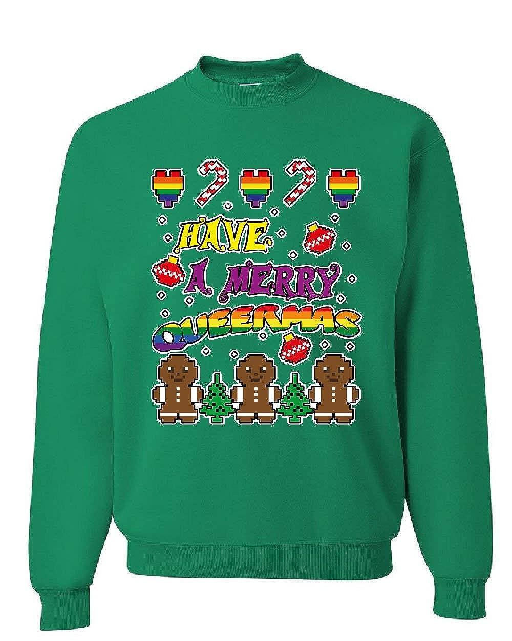 Tee Hunt Have a Merry Queermas Sweatshirt Ugly Sweater Christmas LGBT Xmas Sweater