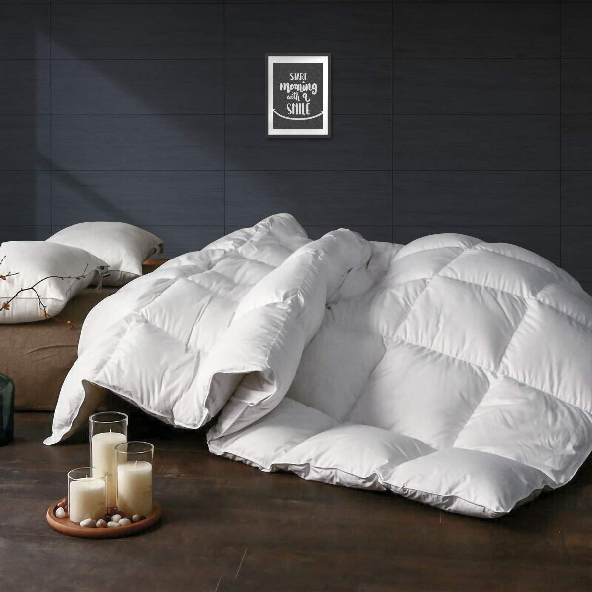 APSMILE All Seasons Goose Down Comforter King Size - Ultra-Soft Egyptian Cotton