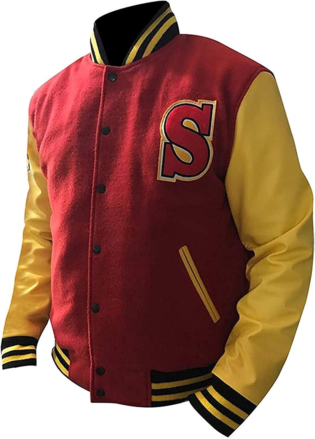 Mens Crows Wellingg Clarkk Varsity Letterman Bomber Woolen Jacket Red and Yellow