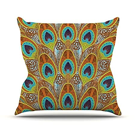 Kess InHouse Art Love Passion Peacock Pattern Brown Teal 23 x 23 Square Floor Pillow