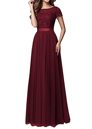 Aurora Bridal Womens Lace Short Sleeves Prom Dresses 2018 Long Formal Evening Gowns Size 2 Burgundy