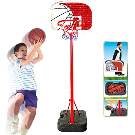 575f1a4d0508 BAKAJI Basket Canestro Valigetta Portatile per Bambini con Piantana in  Metallo Altezza Regolabile Fino a 166
