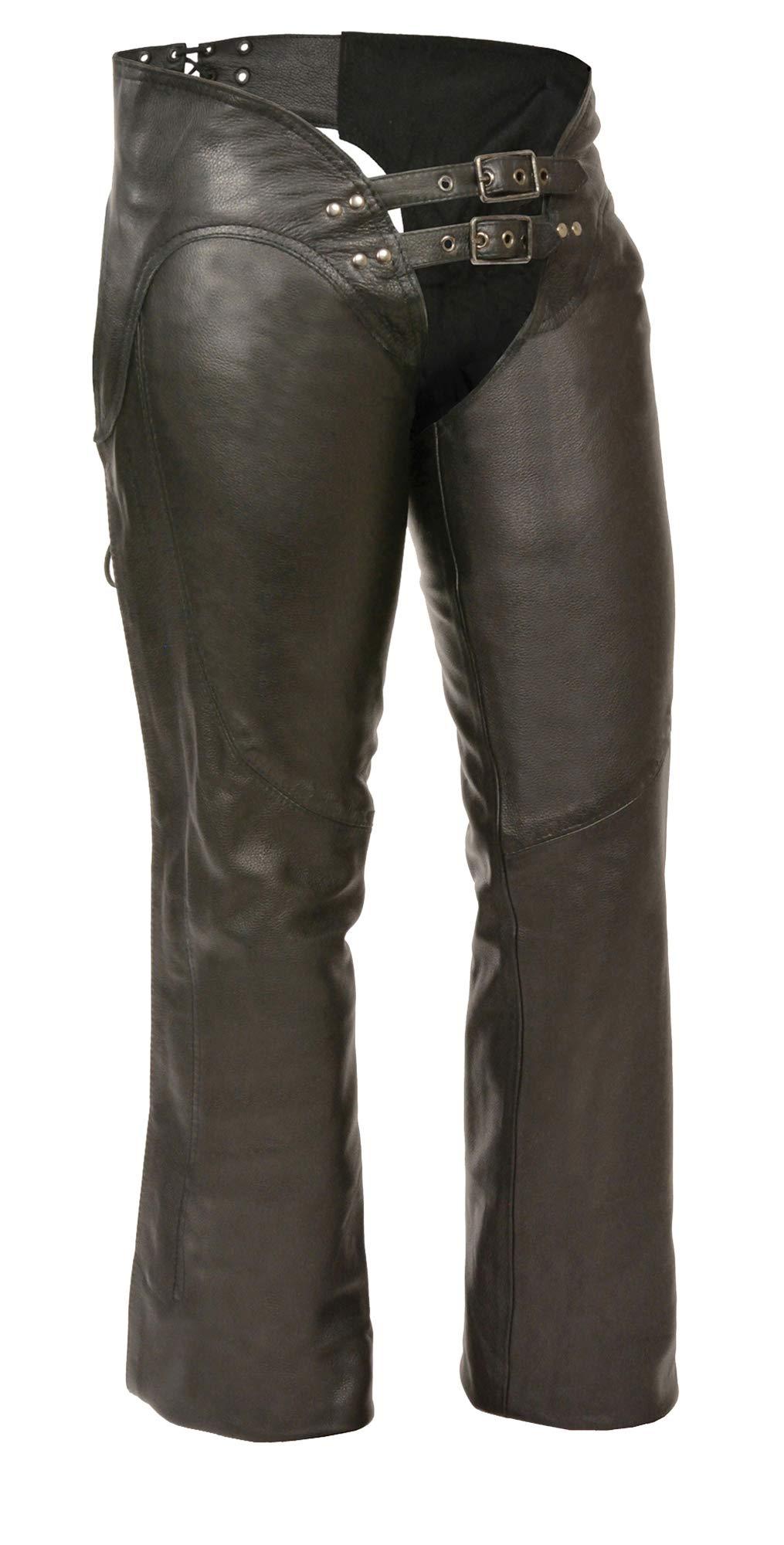 M-BOSS MOTORCYCLE APPAREL-BOS26502-BLACK-Women's low rise leather chaps.-BLACK-MEDIUM