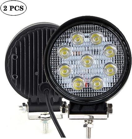 "2x 7/"" 51W Round LED Work Light Bar Spotlight Fog Driving Lamp Off-road SUV Truck"