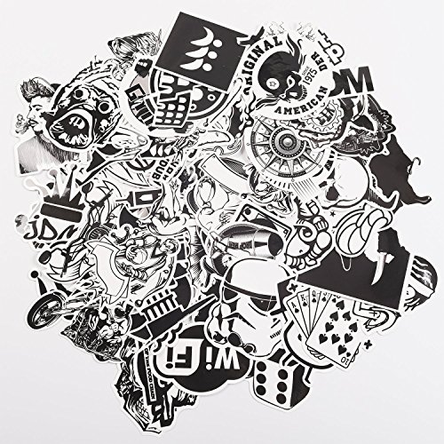 Laptop Stickers for Laptop, Luggage, Fridge, Car, Bicycle, Skateboard, Guitar, Vinyl Stickers, Black and White, 60 Different Stickers ()