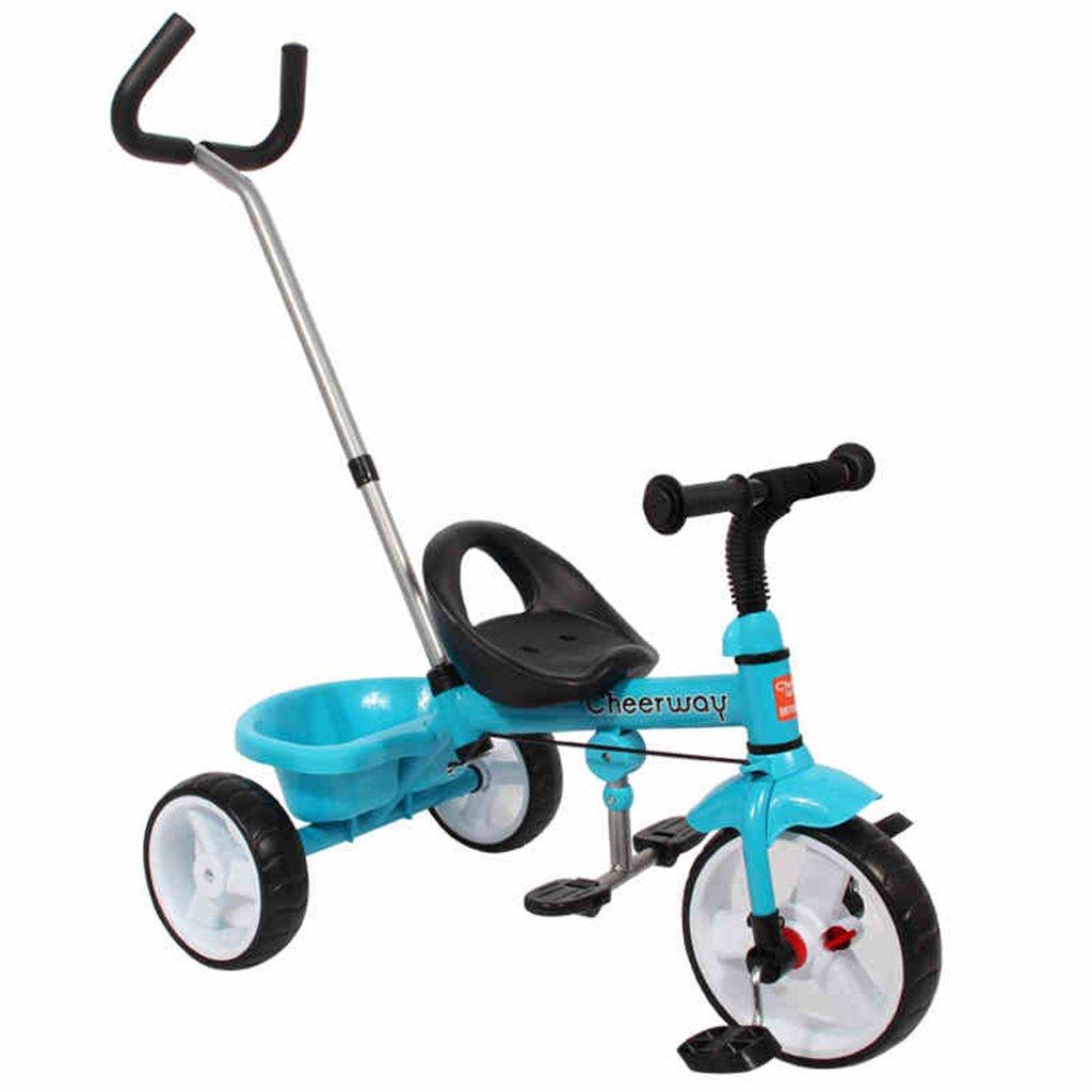 HAIZHEN マウンテンバイク 子供のトロリーカーボンスチールフレームフロントホイールクラッチプッシュロッドコントロール方向2-5歳の自転車トイカー75 * 48 * 110cm 新生児 B07DL66TF6 青 青