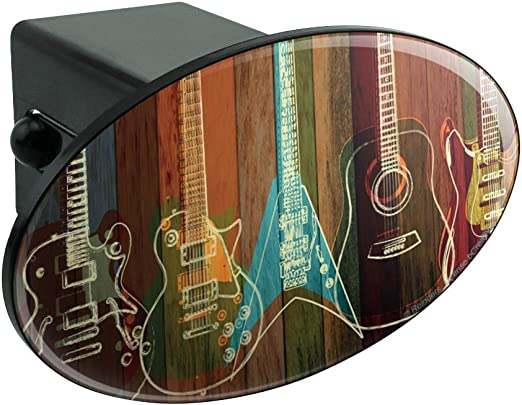 Guitars Electric Acoustic Rock and Roll Wood Paneling Tow Trailer Hitch Cover Plug Insert