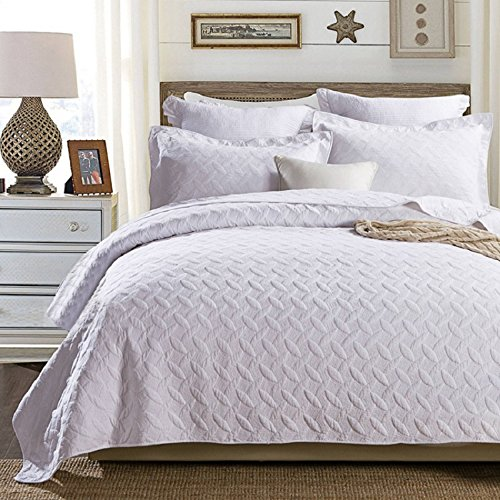 Beddinginn Luxury White Queen Bed Coverlet 3Pcs Cotton Reversible Solid Color Cozy Quilt Set (Queen/King Size,96'' x106'') with 2 Shams Bedspread Coverlet by Beddinginn