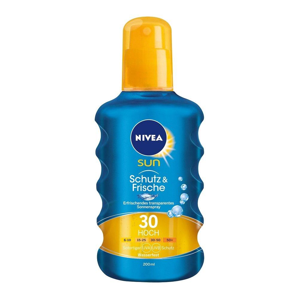 NIVEA SUN Transparentes Sonnenspray, Lichtschutzfaktor 30, 200 ml Sprühflasche, Schutz & Frische