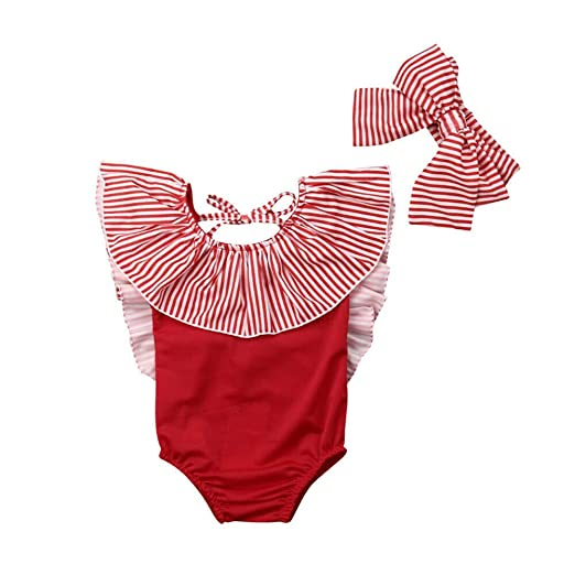 3c210c180cecc Amazon.com  Toddler Baby Girl Swimsuit Kid Summer Striped One Piece Swimwear  Bikini Bathing Suit+Headband Tankini Outfits Sets White  Clothing
