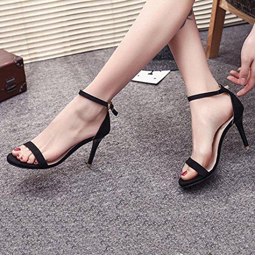 Fheaven Femmes Dames Sandales Cheville Sangle Hauts Talons Bloc Parti Ouvert Chaussures À Bout Sandales Noires