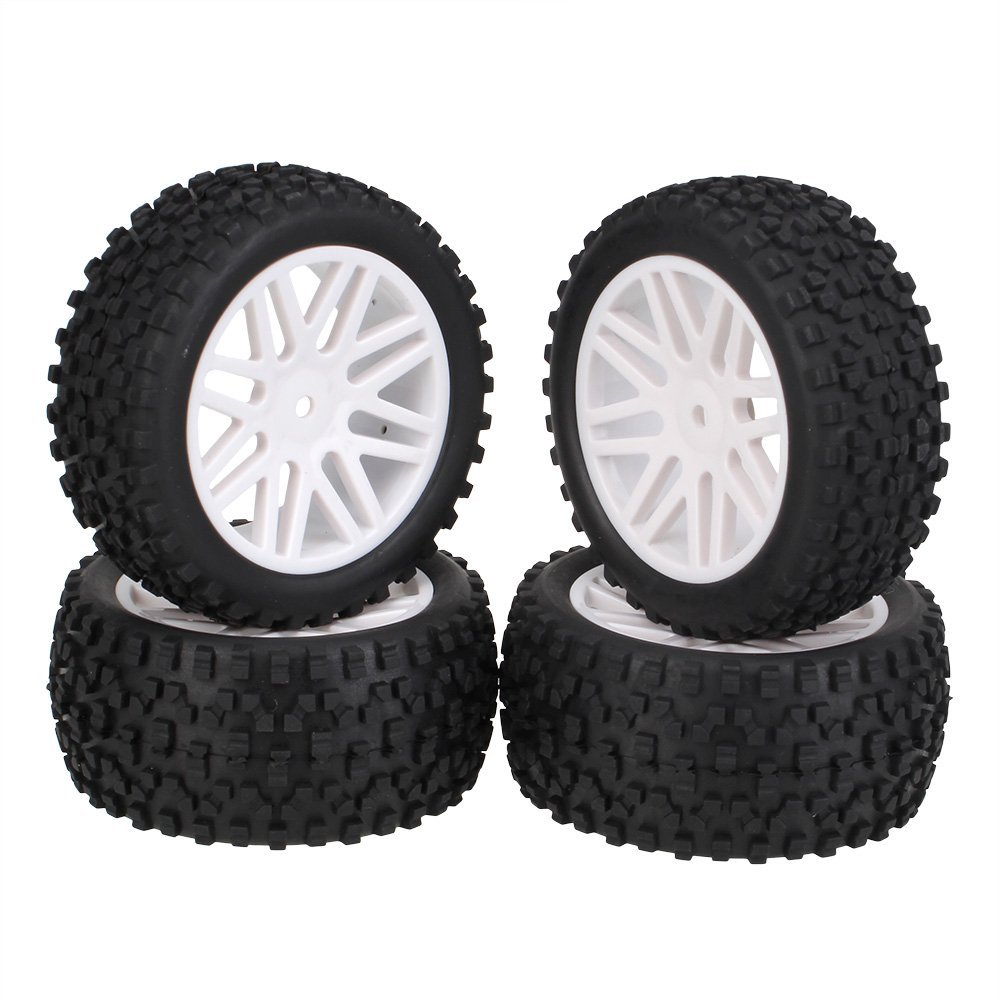 BQLZR White Front Rear Buggy Wheel Rim & Black Rubber Tyre Tires for RC 1:10 Off-Road Pack Of 4