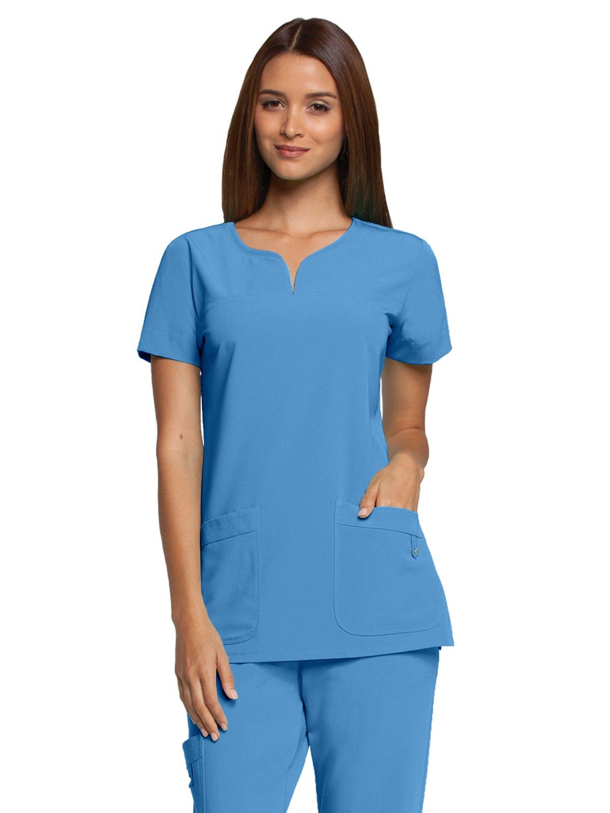 Grey's Anatomy Signature 2121 Notch Neck Top Ciel Blue XXS