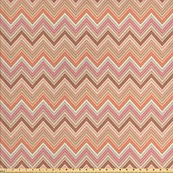 Ambesonne Peach Fabric by The Yard, Old Fashion Zigzag Chevron Pattern with Warm Color Scheme Vintage Retro Design Print, Decorative Fabric for Upholstery and Home Accents, Multicolor