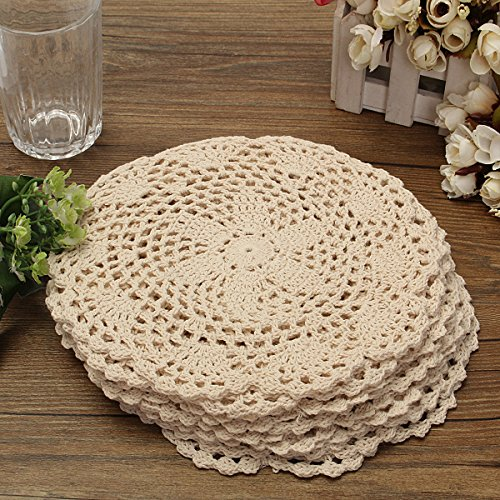 8' Doilies (KINGSO 12Pcs Hand Crocheted Doilies,Beige 8'' Round Floral Crochet Lace Flower Doily French Country Placemat crocheted doilies)