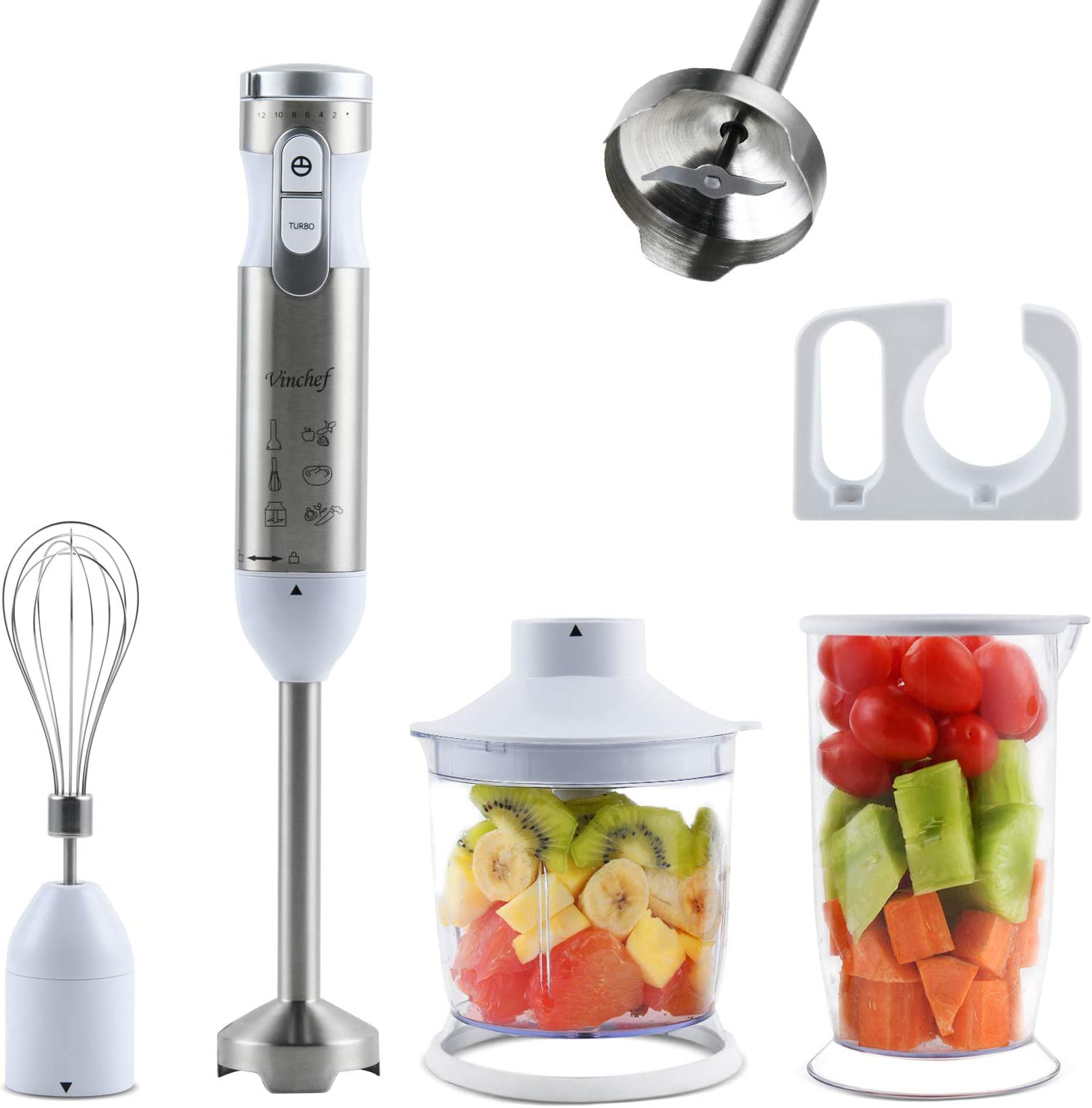 Vinchef 300w 5 in 1 Immersion Hand Blender, Multi-Speed Stainless Steel Handheld Stick Blender with 700ml Beaker, Whisk, Chopper/Grinder Bowl and Wall Rack, Puree Baby Food, BPA-Free (White)