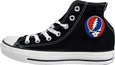 8cd87224881c Image Unavailable. Image not available for. Colour  Converse Grateful Dead  Skull Logo Black Hi Top Sneakers (Mens 9 Womens ...