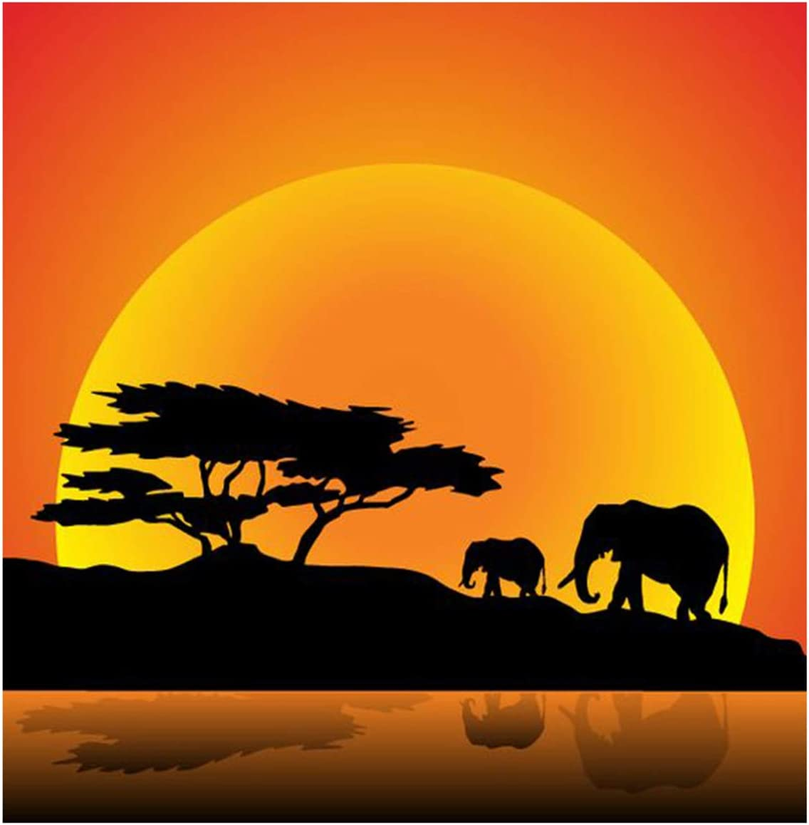 DIY 5D Diamond Painting Beach by Number Kits Full Drill Cross Stitch Crystal Rhinestone Embroidery Pictures Arts Craft for Adults Wall Decor Gift Sunset Elephant 30x30cm