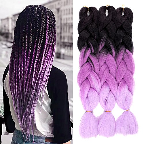 Beauty : AisiBeauty Synthetic Braiding Hair Extensions Kanekalon Hair Ombre Twist Braiding Hair black to purple Crochet Braids Hair Extensions Jumbo Box Braiding Hair(24inches Black/Purple)