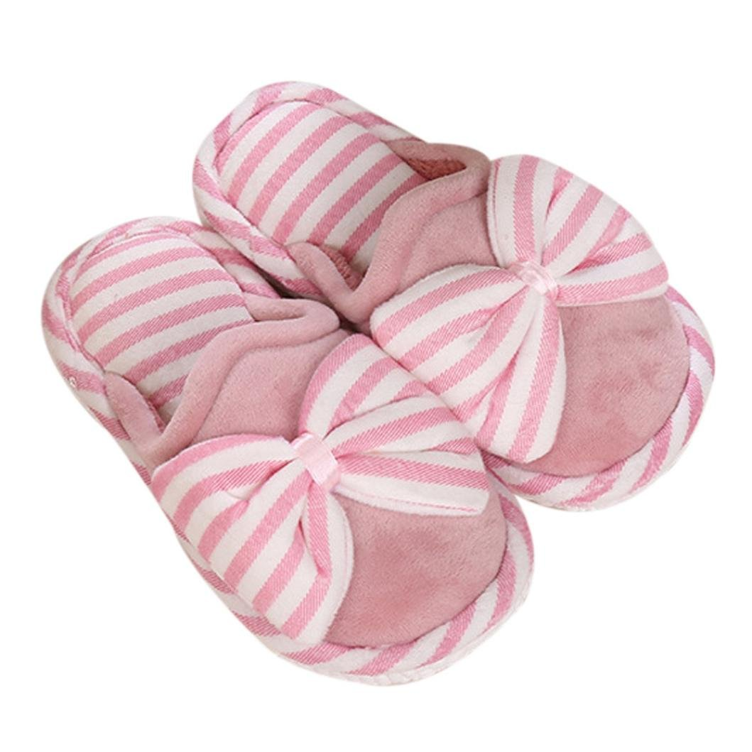 Amiley Womens Plush House Floor Soft Big Bow Scuffs Slipper Cotton-Padded Shoes