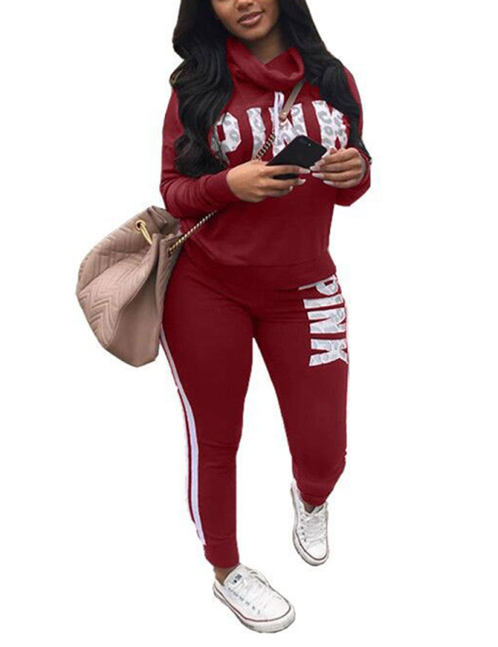 Women Letter Print Two Piece Sweatsuit Cowl Neck Sweatshirt and Skinny Long Pants
