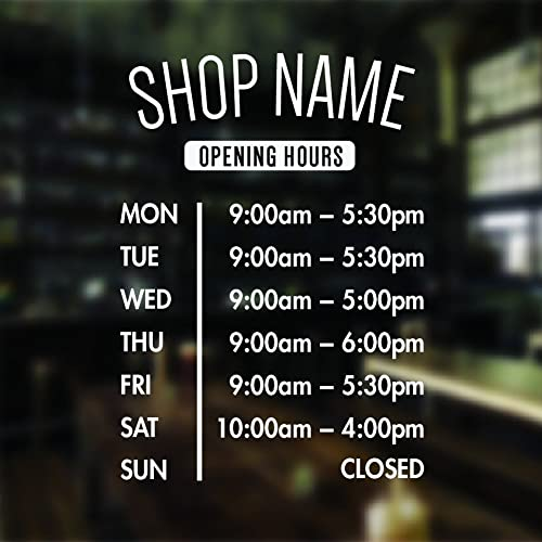Opening hours sign opening times sign for shop window sticker v3 open closed sign business hours