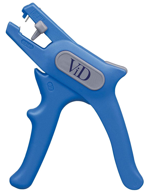 ViD Abisolierzange No. 5 0, 2-6, 0mm² blau/grau | Abisolierer selbsteinstellend 0, 2-6 mm (24-10 AWG) | Abisolierwerkzeug mit Seitenschneider bis 2 mm | Abisolieren von Rundkabeln | 100% Made in Germany Viola Direkt GmbH