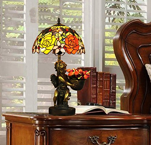 Lamp Tiffany Table Angels (Tiffany-style table lamp/Rose stained glass Angels retro bedroom bedside lamp/Living room classic table lamp-A)