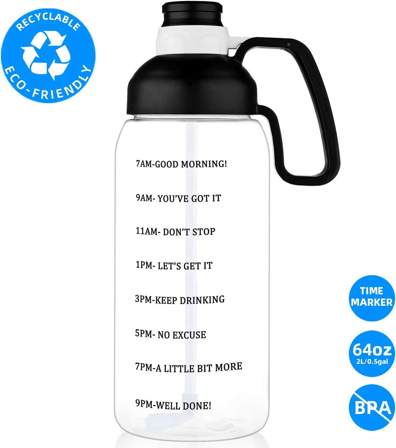 2L Sports Water Bottle BPA Free Wide Mouth Water Jugs for Kitchen,Working 64 OZ Water Bottle with Straw Motivational Water Bottle with Time Marker Large Water Bottle with Handle