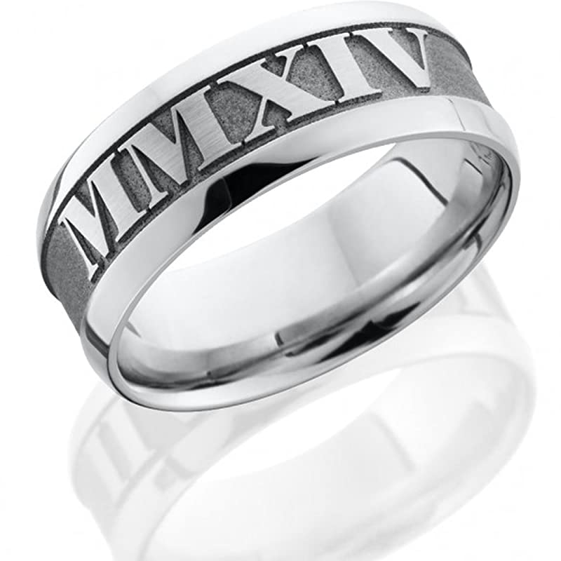 Amazon Com Cobalt Ring Cobalt Chrome Wedding Ring Roman Numerals