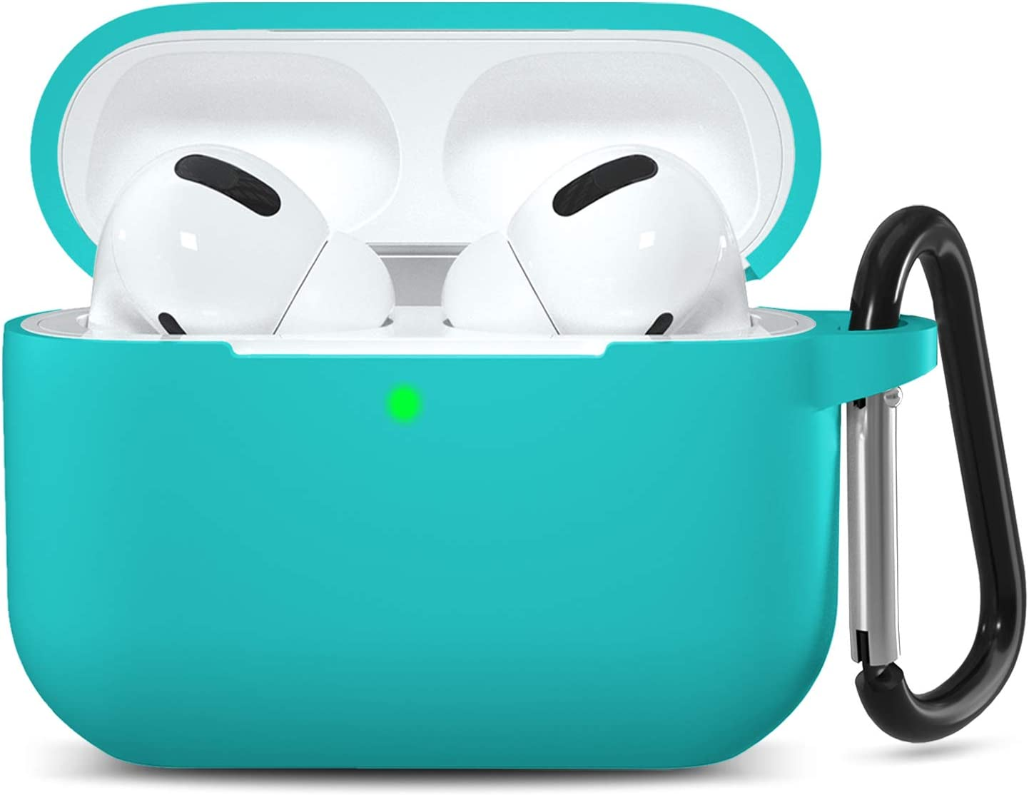 GEAK Compatible with AirPods Pro Case Cover [Front LED Visible], Shockproof Silicone Protective Case with Keychain for AirPods Pro 2019, Teal
