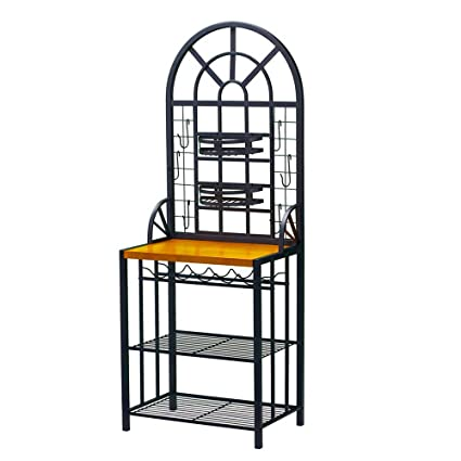 Fantastic Amazon Com Bakers Rack Storage For Kitchens With Wine Tier Theyellowbook Wood Chair Design Ideas Theyellowbookinfo