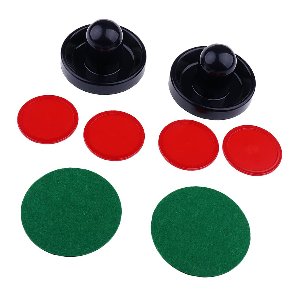 Homyl Set of Two Air Hockey Felt Pushers Strikers Goalies Plus Four Pucks 3 Sizes Options - Red, S