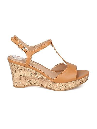 Women Platform Wedge Sandal - Faux Cork Heel Sandal - T-Strap Heel - HK01  By Mark Maddux - Cognac Leatherette (Size: 8.0): Amazon.ca: Shoes & Handbags