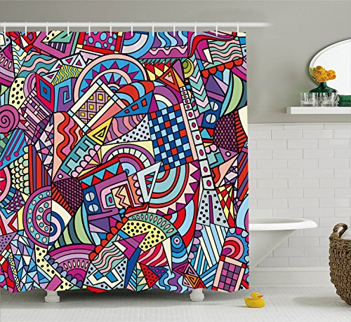 Ambesonne Psychedelic Decor Shower Curtain Set, Colorful Funky Art 90's Theme Stained Glass Style Triangle and Squares Abstract Art Print, Bathroom Accessories, 75 Inches Long, Multi (Glass Stained Mountains)