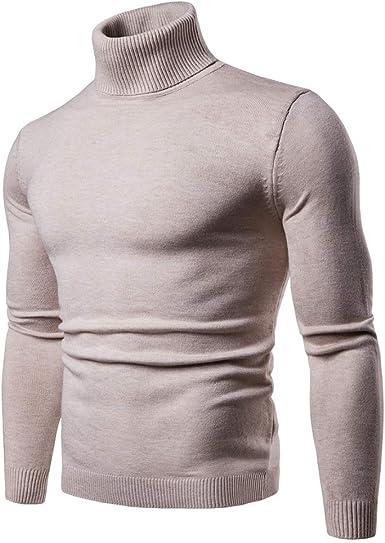 CCZZ Jersey de punto para hombre, cuello alto, cuello de