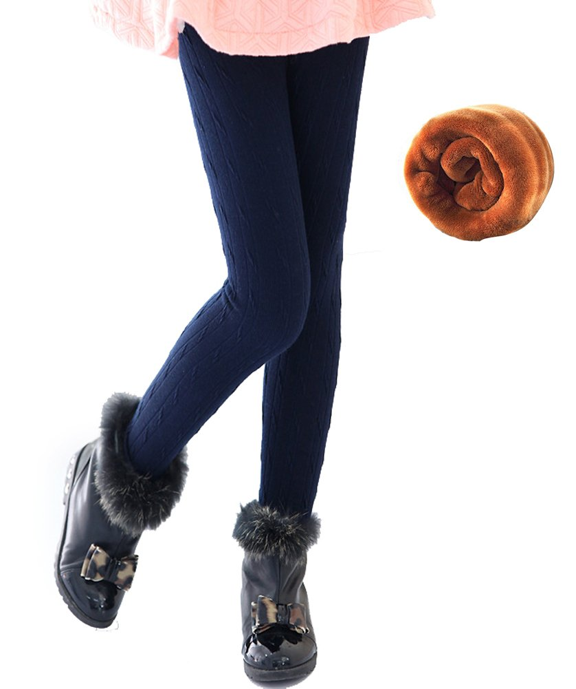 YallFairy Grils Leggings Winter Warm Cable Knit Tights Pants Thick Velvet Trousers (6T(Suitable Height 110-120cm), Navy blue)