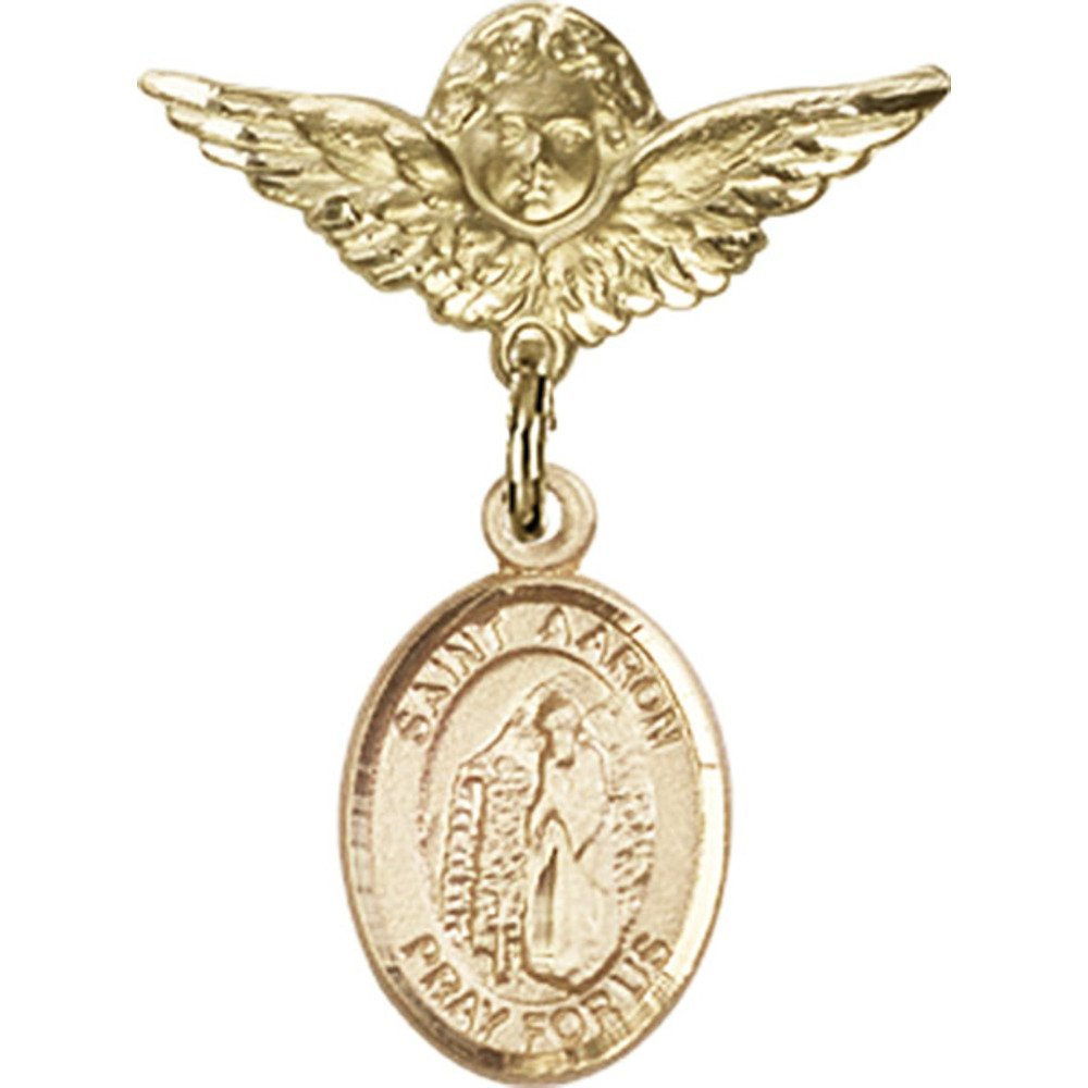14kt Yellow Gold Baby Badge with St. Aaron Charm and Angel w/Wings Badge Pin 1 X 3/4 inches by Unknown