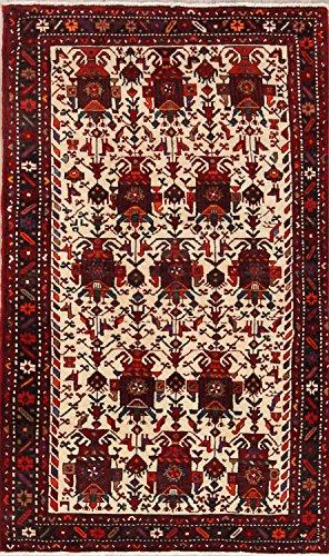 Gharajeh Persian Rugs - Rug Source Traditional Hand Made Geometric Tribal Ivory 7 Gharajeh Persian Area Rug for Bedroom (6' 8
