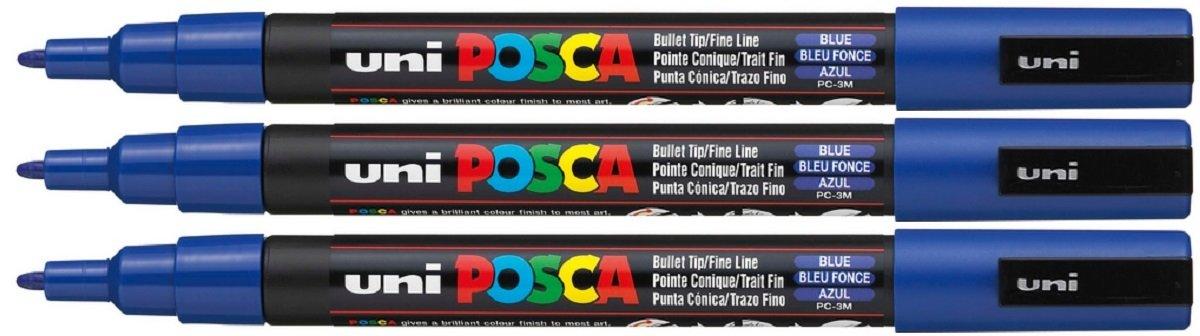 Uni Posca PC-3M Blue Colour Paint Marker Pen 1.5mm Fine Bullet Nib Writes On Any Surface Glass Metal Wood Plastic Fabric (Pack Of 3)
