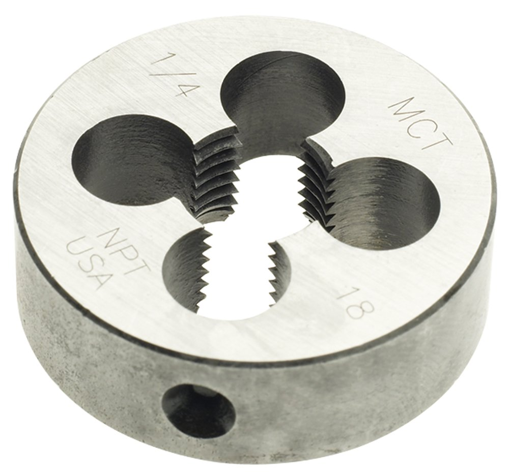 Morse Cutting Tools 31253 Solid Round NPT Taper Pipe Dies, Carbon Steel, 1-1/2'' Outside Diameter, 1/2'' Thick, 1/4'', 18 Size